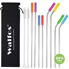 <b>WALFOS</b> Set of 8 <b>Stainless Steel</b> Drinking Straws with Silicone Tip ...