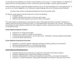 General Career Objective Resume First Resume Objective General Objectives For Samples Of List 23