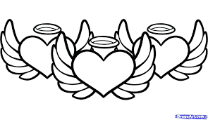 Color Pages Hearts With Wings And Halo Coloring Pictures Of Roses ...