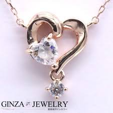 c4 カナルヨンドシー k10 pink gold necklace heart stone design with