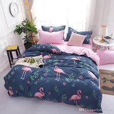 flamingo cartoon bedding set kids duvet cover bed linen sheet pillowcase 3 single double queen size kids beddingclothes full duvet cover complete bedding