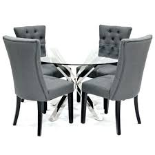 crossly glass dining table and 4 grey chairs black 6