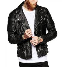 mens slimfit motorcycle black leather jacket