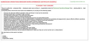 Warehouse Operations Manager Job Experience Letter