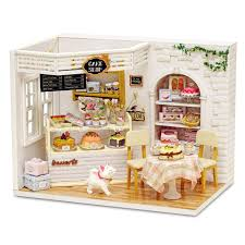 dollhouse lighting. Cuteroom H 014 Cake Diary Shop Diy Hnadmake Dollhouse With Music Cover Light House Model Best Toy Gift For Friend Dolls Plans Lighting