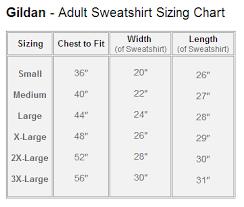 Gildan Sweatshirt Size Chart