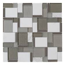 allen roth essentials modern cubes mosaic glass metal stone marble wall tile