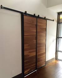 the industrialist walnut minimalist modern sliding door kit