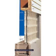 the glass block window panel sits on the block or concrete wall and is held in place with mortar and caulk