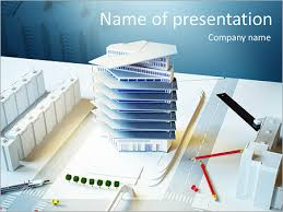 Architectural Powerpoint Template Architectural Model Of A Modern Building Powerpoint Template Infographics Slides