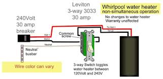 how to wire water heater two switches leviton 3033 switch