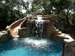 backyard pools with waterfalls and slide. Brilliant Waterfalls Swimming Pool With Rock Waterfall And Slide Intended Backyard Pools With Waterfalls And H