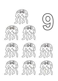 Small Picture Learn Number 9 with Nine Jellyfish Coloring Page Bulk Color