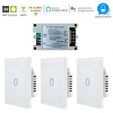 Wireless 3 Way Light Switch Smart Wireless Wifi Rf 1 Gang 3 Way Touch Light Switch Pack White Glass