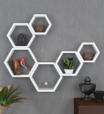 set of 6 engineered wood hexagon