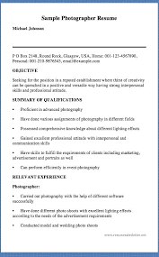 Photographer Resume Objective Resume For Photographer Simple Photographer Resume Resume 57