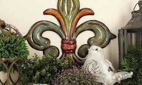 metal fleur de lis wall decor in green gold and red set of 3