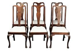 Queen Anne Mahogany Set of Six Dining Chairs