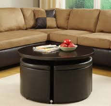 Furniture, Black Modern Wood And Leather Round Storage Coffee Table Designs  For Living Room Decoration