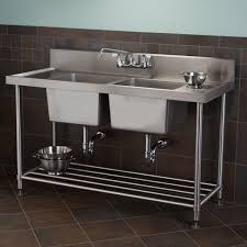 Kitchen Racks Stainless Steel Stainless Steel Double Bowl Commercial Console Sink With Shelf
