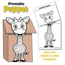 Giraffe Printable Template Giraffe Craft Activity Printablepaper Bag Puppet Template Tpt