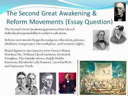 short answer and essay questions african americans the great  the second great awakening reform movements essay question the second great awakening promoted