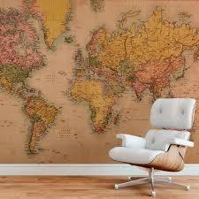 Landkaart Behang Gedetailleerde Retro Landkaart Op Fotobehang