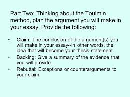 the toulmin method and essay one ppt  41 part