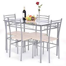 Glass top dining sets Glass Design Image Unavailable Amazoncom Amazoncom Giantex Piece Dining Set Table And Chairs Glass Top