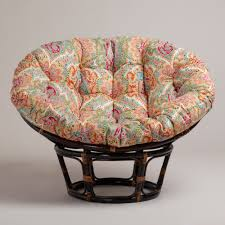 colorful papasan chair cushion with rattan stand for home furniture ideas