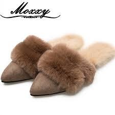 <b>Moxxy</b> 2018 Warm Winter Outside Mules <b>Woman</b> Fur Flip Flops Soft ...