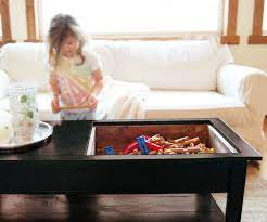 coffee table with inset top storage