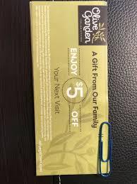 20 5 olive garden gift certificates 100 value