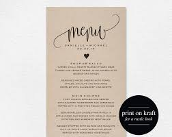 Wedding Menu Template Rustic Wedding Menu Wedding Menu Template Menu Cards Menu 1