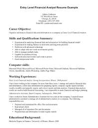 Entry Level Financial Analyst Resume Example Finance Analyst Resume