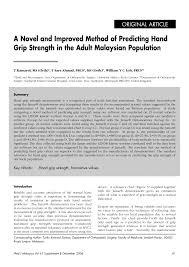 Grip Strength Chart Pdf A Novel And Improved Method Of Predicting Hand Grip