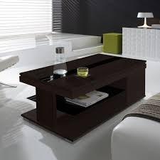 Table basse relevable wengé et verre noir- meuble