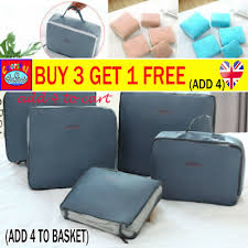 7/8PCS <b>PACKING</b> CUBES Travel Pouch Luggage Organiser ...