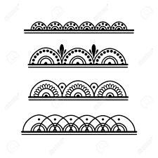Mehndi Style Simple Elements Set Pattern Of Creative Border