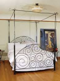 wrought iron and wood king bed flower | pictures of Iron Canopy Bed ...