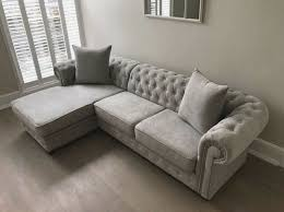 fabric light grey corner sofa bed 3