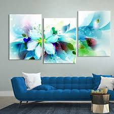 canvas set of 3 modern abstract blue flowers stretched canvas print ready to hang on 3 panel wall art flowers with 17 best images about wall decorations on pinterest quartos canvas
