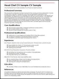 Personal Chef Resume Fascinating Head Chef CV Sample MyperfectCV