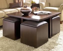 Nice Image Of: Brown Square Ottoman Coffee Table