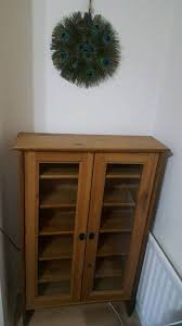 ikea leksvik cd dvd bookcase cabinet with glass doors