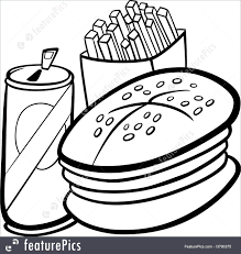 fast food cartoon for coloring book royalty free stock ilration