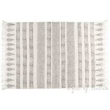 black off white flat weave woven cotton block print area accent dhurrie boho rug