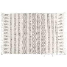 black white flat weave woven cotton block print area accent dhurrie boho rug 4 x