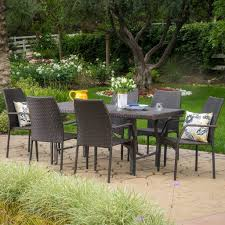 brown set patio source outdoor. Alexi Outdoor 7 Piece Multibrown Wicker Dining Set Brown Patio Source
