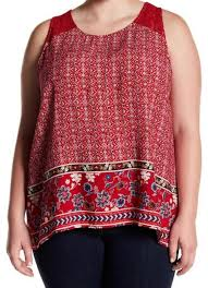Love On A Hanger Clothing Love On A Hanger Nwtred Crochet Yoke Printed Tank TopCami Size 24 9